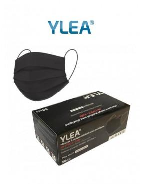 Boite de 50 masques chirurgicaux noirs 3 plis de type II Ylea